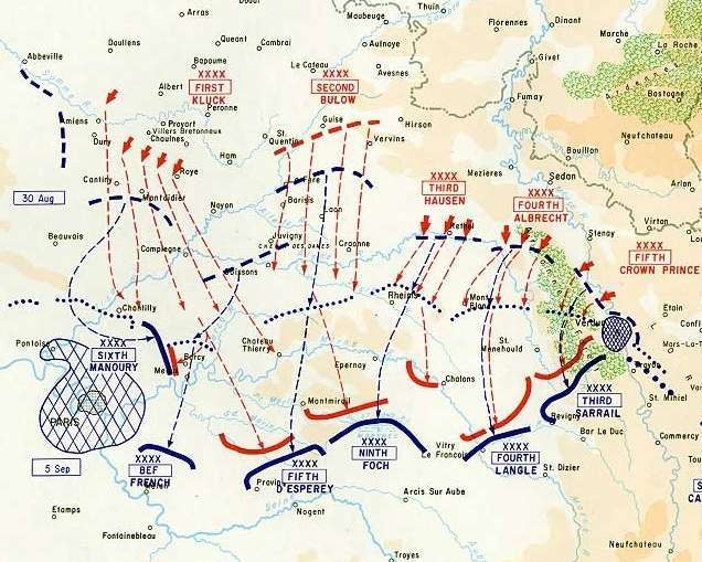 The First Battle of the Marne - Major Turning Point of World ... on battle of verdun map wwi, downloadable maps of battle wwi, allied powers map wwi, battle of tannenberg map wwi,